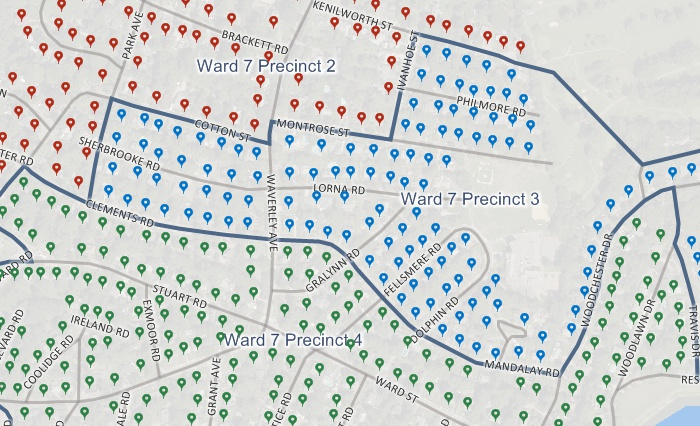 Map of geocoded voter records