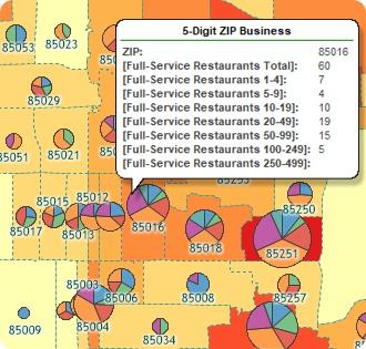 Maptitude ZIP Code Business count map of restaurants