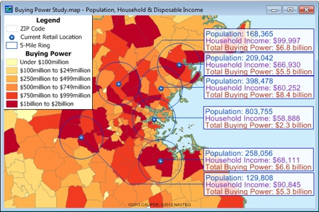 Maptitude map of aggregate disposable income by ZIP Code