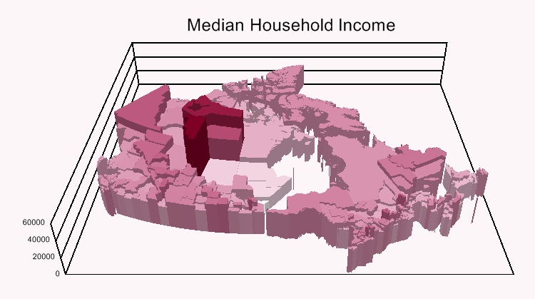 3D map of income with Maptitude alternative to Blue Marble Global Mapper