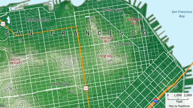 Maptitude topographic map of San Francisco elevations