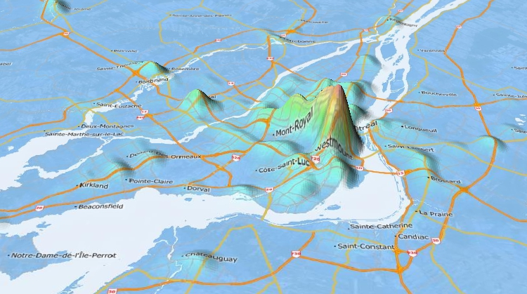 Maptitude 3D topographic maps can show elevation and other data
