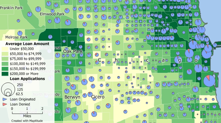 HMDA data map created with Maptitude GIS Banking Software