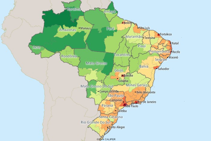 Maptitude Mapping Software For Brazil - Brazil map