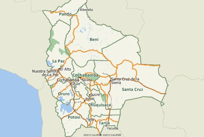 Maptitude Bolivia Map