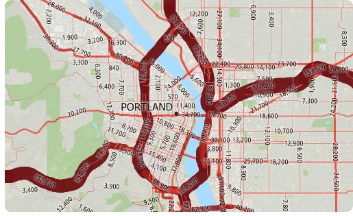 Maptitude AADT data map
