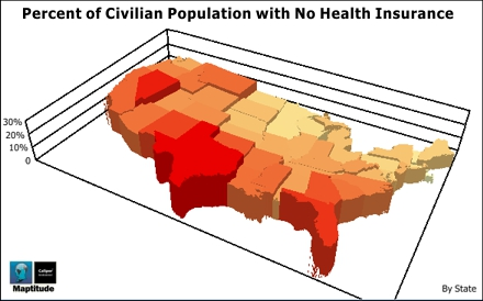 US State Uninsured Population Map