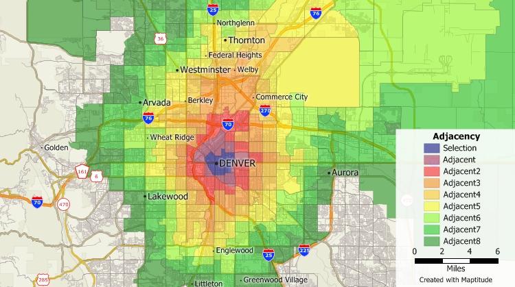 Public health mapping of adjacency