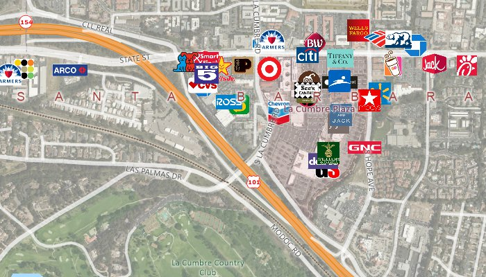 Real estate maps of landmark locations with image background