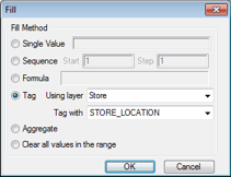 Maptitude fill dialog box with map tag option