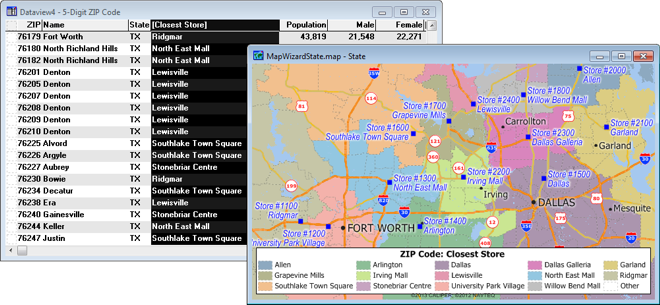 Map and dataview showing tagged values