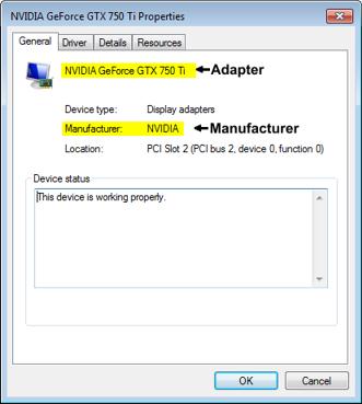 Adapter Properties Dialog Box